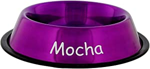 Personalized Anti-Skid Stainless Steel Food Bowl (8 oz., Metallic Purple)