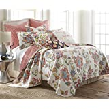 Clementine Spring Full/Queen Quilt Set, Red White Multi, Cotton