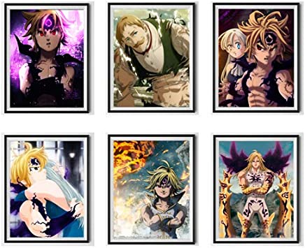 Seven Deadly Sins Demon King Meliodas Elizabeth Escanor Anime Poster Canvas Wall Art for Bedroom Decoration Set of 6,8 x 10 Inches,No Frame