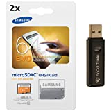 2-Pack Samsung Electronics 64GB = 128GB EVO Micro SDXC with Adapter Upto 48MB/s Class 10 Memory Card (MB-MP64DA) with SoCal Trade USB 2.0 Dual Slot MicroSD HC and SD HC Memory Card Reader