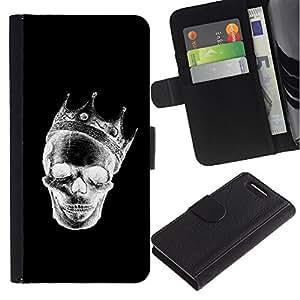 JackGot ( Corona Negro Blanco Cráneo de la muerte de la roca ) Sony Xperia Z1 Compact / Z1 Mini (Not Z1) D5503 la tarjeta de Crédito Slots PU Funda de cuero Monedero caso cubierta de piel