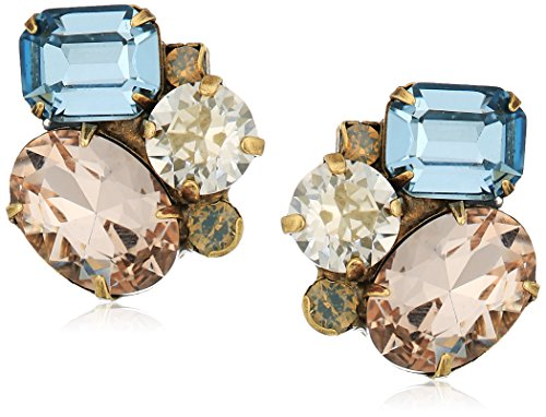 Multi Cut Cluster - Sorrelli Coastal Mist Multi-Cut Cluster Crystal Clip-On Earrings