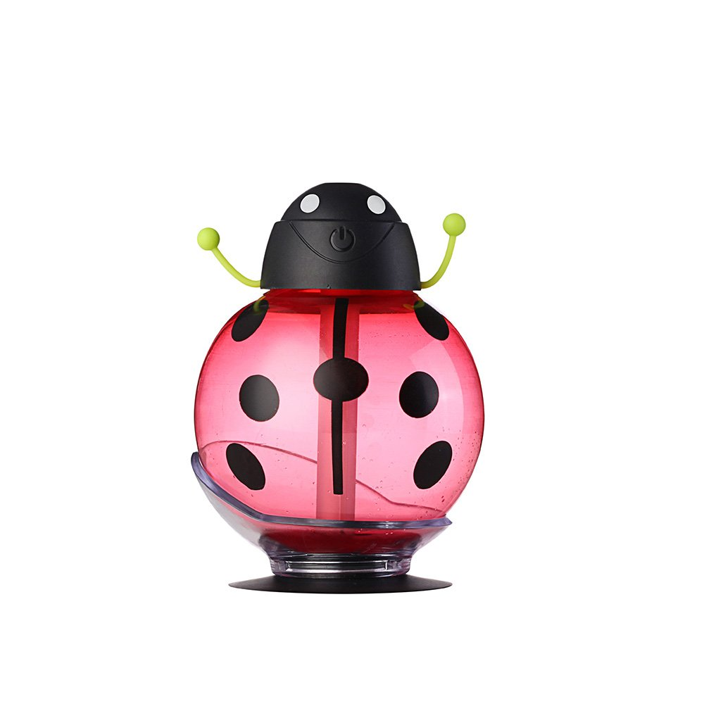 KINGEAR Beetle 260ML Mini Portable USB Air Freshener Purifier with Automatic Shut-off Function for Home Office Bedroom Baby Night Light School Travel Car-Red