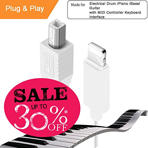 iPhone Lightning to midi/usb type b,Micro USB Adaptor, Interconnection Converter for MIDI Keyboard & Electronic Musical Instruments, Compatible for iPhone iPad Lightning Port, Applicable for Casio H from Hoklan