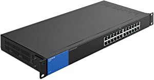 Linksys Business LGS124 24-Port Rackmount Gigabit Ethernet Unmanaged Network Switch I Metal Enclosure,Black; blue