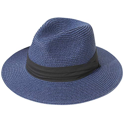 - Lanzom Women Wide Brim Straw Panama Roll up Hat Fedora Beach Sun Hat UPF50+ (Blue)