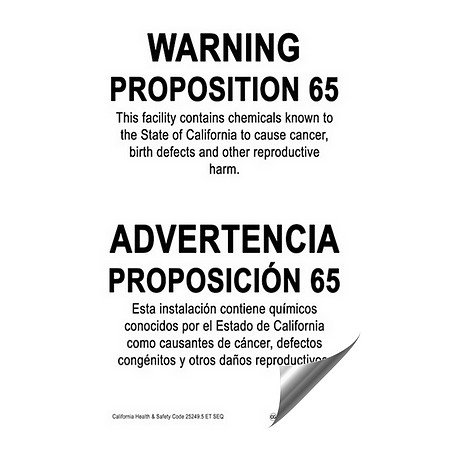 CGSignLab | ''California Proposition 65 Bilingual Warning Sign'' Heavy-Duty Industrial Self-Adhesive Aluminum Wall Decal (5-Pack) | 24''x36'' by CGSignLab