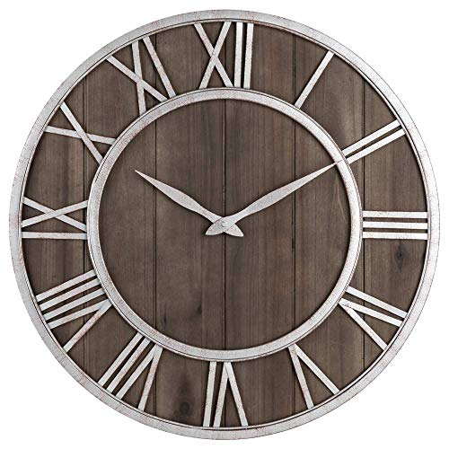 Oldtown Farmhouse Metal & Solid Wood Noiseless Wall Clock (Dark Brown Wood Rustic Silver Metal Iron Frame with Rusted Orange Red Paint Dots, 24-inch) (Clock Wall Iron)