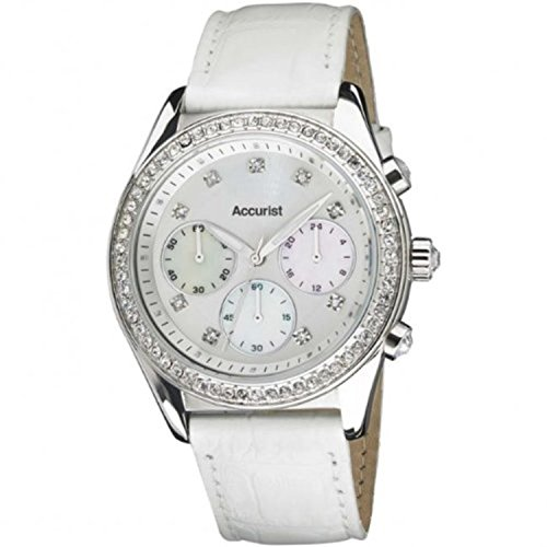 Accurist Ladies Crystal Set Chronograph Watch with White Leather Strap LS410W