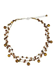 """NOVICA Dyed Brown Cultured Freshwater Pearl Stainless Steel Choker Necklace, 15"""", 'Cinnamon Glow'"""