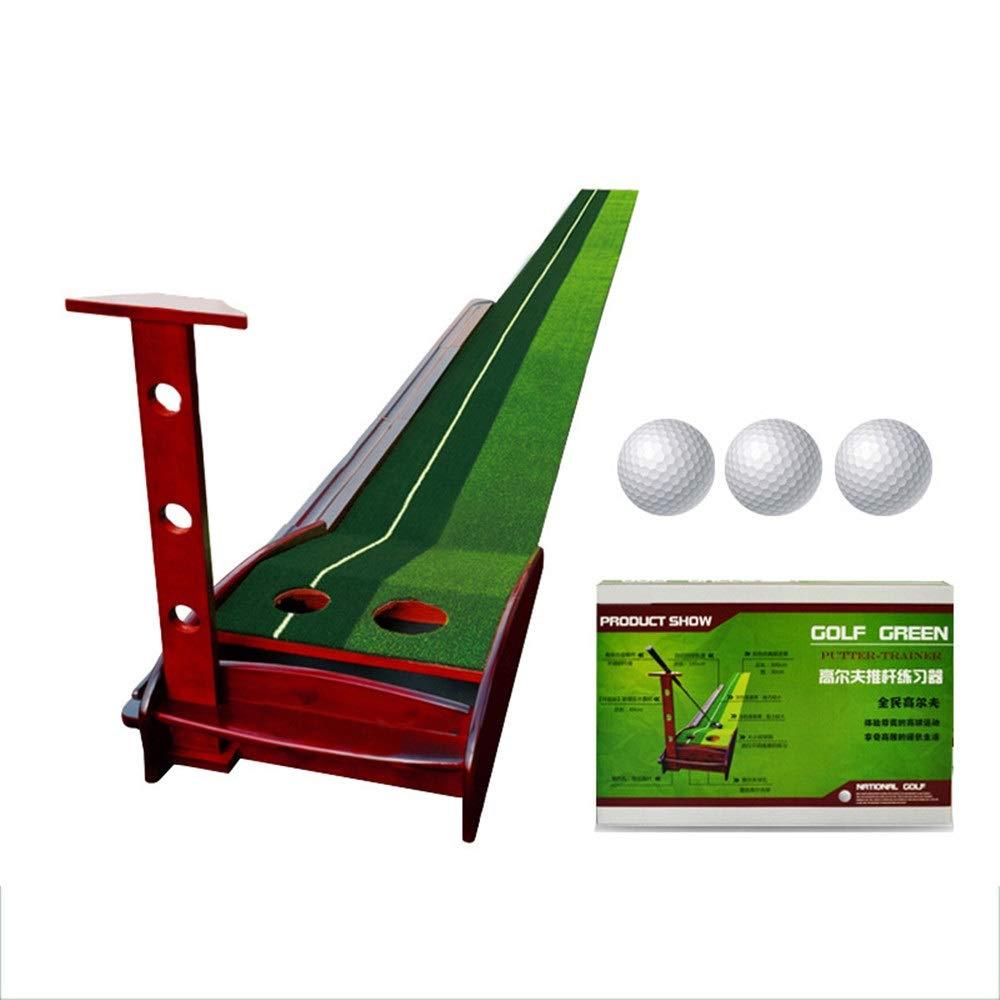 パター練習用マット 人工芝ゴルフパッティングトレーナー屋内/屋外ゴルフオートリターンパッティングトレーナーマットトラック屋内パッティンググリーン2穴/ 2サイズ重力ボールリターン 裏面滑り止め (色 : 緑, サイズ : 350cm+3balls) 350cm+3balls 緑 B07TDQ7B49