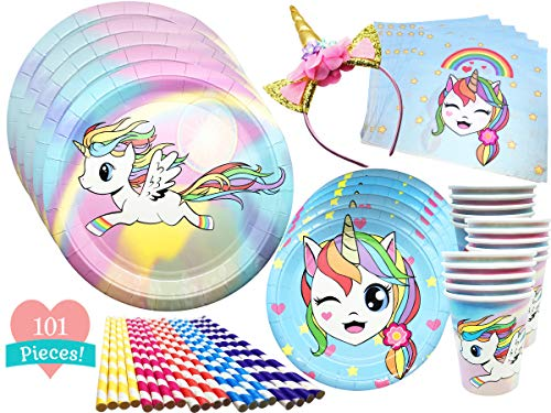 Unicorn Party Supplies Set with BONUS Pink and Gold Unicorn Headband | Includes Colorful Plates, Napkins, Cups, and Rainbow Straws | 101 Piece Birthday Set Serves 20 | by So Little So Cute