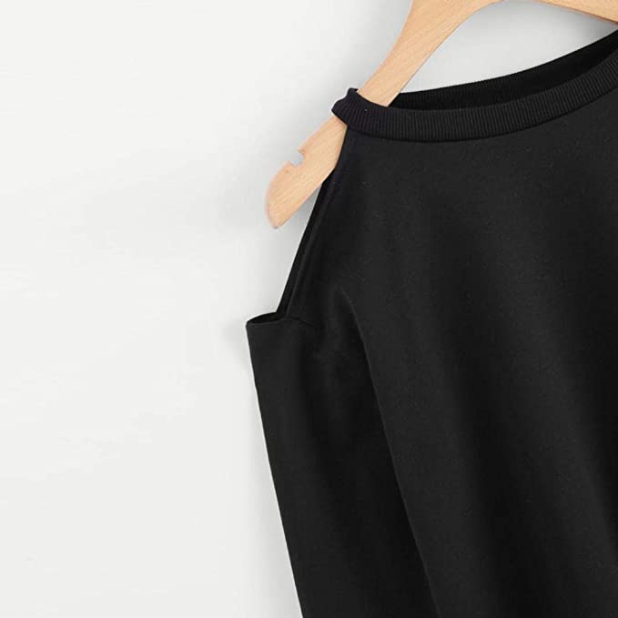 Women Off Shoulder Long Sleeve Sweatshirt O Neck Autumn Solid Jumper Pullover Tops Fashion Blouse at Amazon Womens Clothing store: