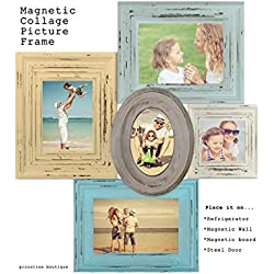 MAGNETIC COLLAGE PICTURE FRAME-Blue & Yellow picture vintage style picture frame,Family picture