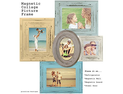 MAGNETIC COLLAGE PICTURE FRAME-Blue & Yellow picture vintage style picture frame,Family - Frames Styles