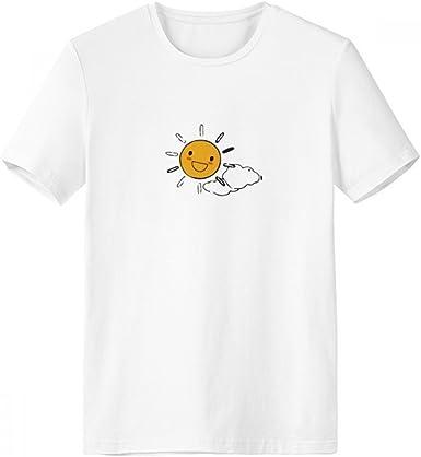 DIYthinker El tiempo Sun Nube Ilustración del patrón de cuello redondo camiseta blanca de manga corta Comfort Deportes camisetas de regalos - Multi - S: Amazon.es: Ropa y accesorios