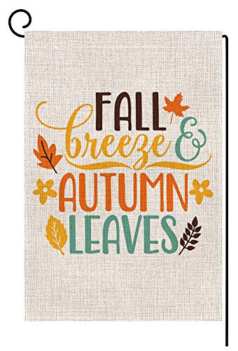 BLKWHT 188060 Fall Quote Autumn Saying Small Garden Flag Vertical Double Sided 12.5 x 18 Inches Burlap Yard Outdoor Decor (Fall Breeze Autumn Leaves)
