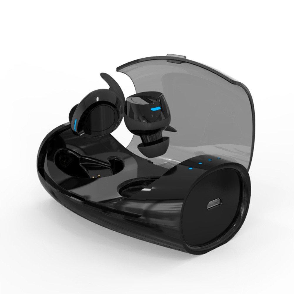 ES60 Bluetooth 4.2 ワイヤレス TWS in Ear Stereo Bass イヤホン スポーツ ヘッドセット マイク 充電ボックス ブラック  ブラック B07CHYMQ77