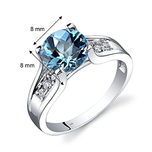 14K White Gold Swiss Blue Topaz Diamond Cocktail Ring 2.25 Carats Size 8 by Peora (Image #2)