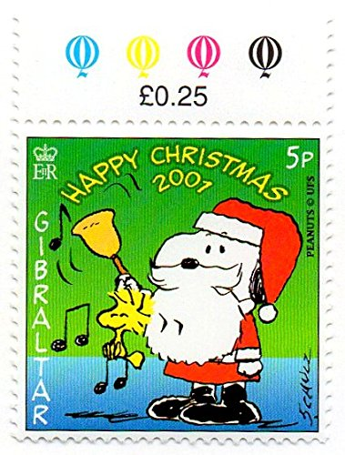 Gibraltar Postage Stamp Single 2001 Christmas Snoopy In Santa Suit Ringing Bell Issue 5 P Scott