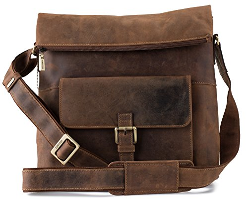 Visconti Mars Large Leather Messenger Shoulder Bag Handbag Oiled Leather, Tan, One Size by Visconti