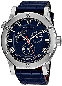 Ralph Lauren Sporting Worldtimer Mens 45mm Stainless Steel Blue Leather Band Swiss Automatic Power Reserve Day/Night 2nd Time Zone Watch For Men R0210700