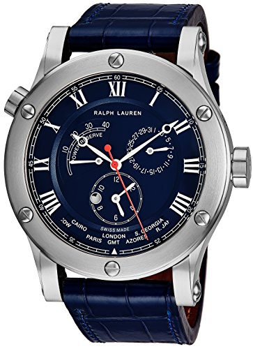 Ralph Lauren Sporting Worldtimer Mens 45mm Stainless Steel World Time Watch - Blue Leather Band Swiss Automatic Power Reserve Day/Night 2nd Time Zone Watch For Men R0210700