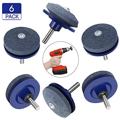 Lawn Mower Blade Sharpener, Lawn Mower Blade Balancer Tool with Upgrade Thickness,Grinder Wheel Stone for Any Power Drill Hand Drill (6 pcs Blue)