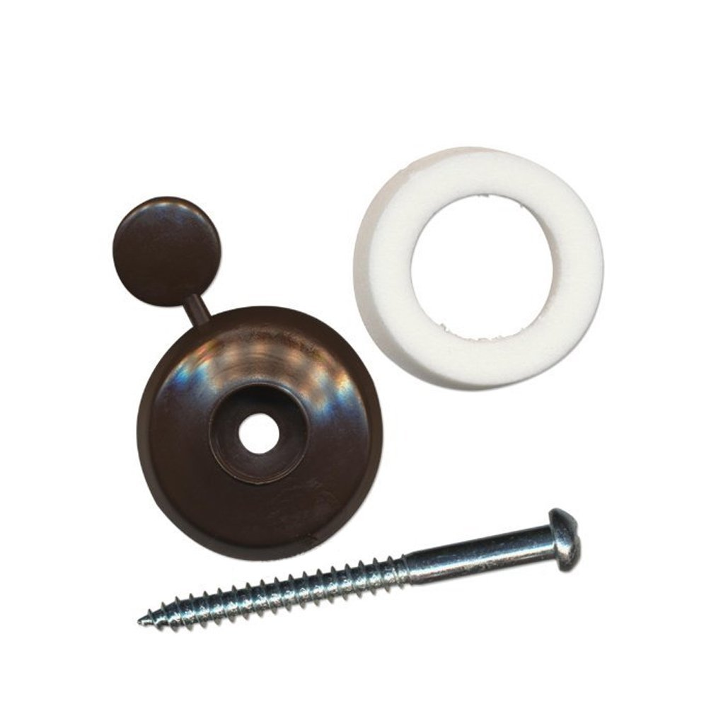 10 x Brown 25mm Thick Polycarbonate sheet fixing buttons to fix or screw into noggin purlin rafters or poly Living Space