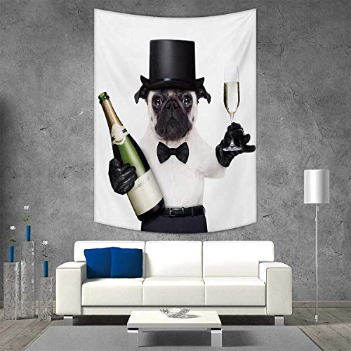 smallbeefly Pug Tapestry Table Cover Bedspread Beach Towel Celebration Dog with Champagne Bottle While Toasting Happy Moments Photographs Dorm Decor 51W x 60L INCH Black White Emerald for $<!--$29.30-->