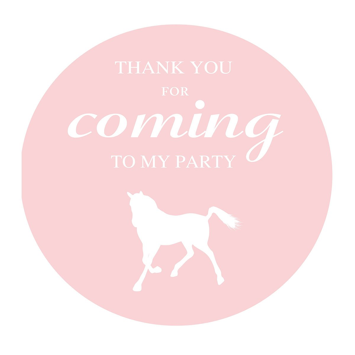 MAGJUCHE Pink Horse Thank You Stickers, Farm Animal, Boy Birthday or Baby Shower Party Supply Labels, 2 Inch, 40-Pack