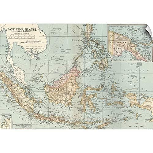 CANVAS ON DEMAND East India Islands, Malaysia and Melanesia - Vintage Map Wall Peel Art Print, 18