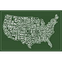 USA Airports Abbreviation Code Green Poster 18x12