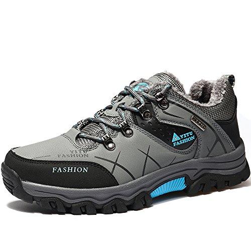 Vilocy Outdoor Hombre Impermeable Senderismo Deportes Zapatilla De Piel Línea De Nieve Botas Zapatos De Piel Gris40