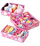 House of Quirk Set of 3 Cloud Innerwear Drawer Organizer Foldable Storage Box - Pink