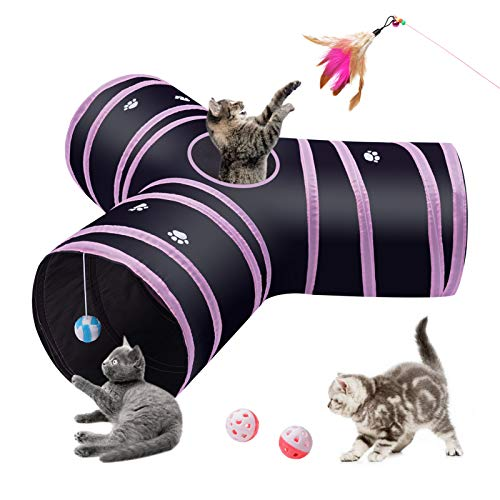 S-jiang Y-Shape Cat Tunnel 3 Ways Collapsible Cat Toy Tunnel for Indoor Cats Interactive Toy, Extension play tunnel…