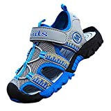 Boy's Sport Sandals Closed-Toe Water Shoes Outdoor Beach, 12 US Little Kid, Blue & Grey