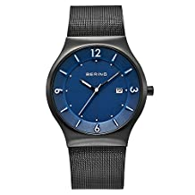 Bering 14440-227 Men's Solar Blue Dial Black IP Milanese Steel Mesh Bracelet Watch