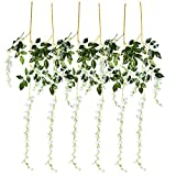 Juvale Artificial Wisteria Garland - 6-Pack Fake Wisteria Vine Ratta Hanging Garland, Faux Silk Flower, Home, Party, Wedding Decorations, White and Green, 3.6 Feet Each