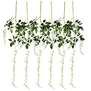 Juvale Artificial Wisteria Garland - 6-Pack Fake Wisteria Vine Ratta Hanging Garland, Faux Silk Flower, Home, Party, Wedding Decorations, White and Green, 3.6 Feet Each 61