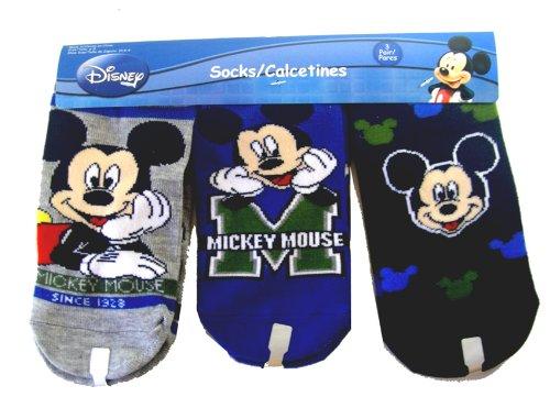 Disney Mickey Mouse Fun Socks (3pk) Sz 6-8 BLUE-NAVY-
