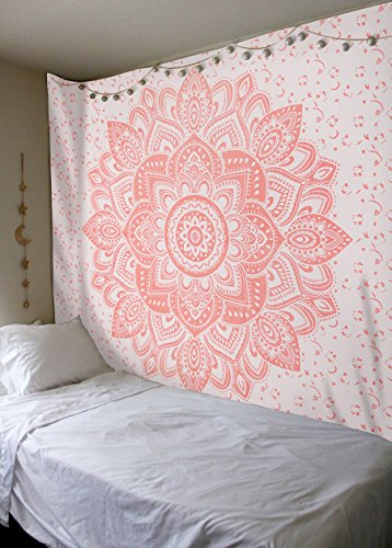 (Labhanshi Rose Gold Ombre Tapestry, Mandala Tapestry, Queen, Indian Mandala Wall Art Hippie Wall Hanging Bohemian Bedspread)