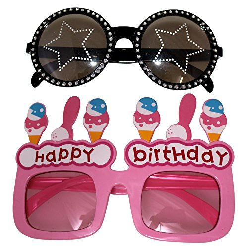 Creative Set Of 2 Party Glasses - Star & Happy Birthday