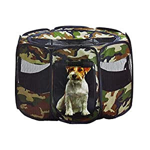 Etna Portable Foldable Pet Playpen - Pop-Up, Traveling, Kennel Carrying Design Great for Keeping Small-Medium Pets Safe, Secure, Comfortable Indoors & Outdoors 14