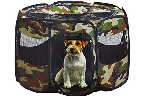 Etna Portable Foldable Pet Playpen For Dogs, Camouflage – Indoor and Outdoor Use, Small / Medium Sized Pets – Pop-Up, Traveling, Kennel Design, Ideal for Keeping Pets Safe and Secure – 29 x 17 Inches