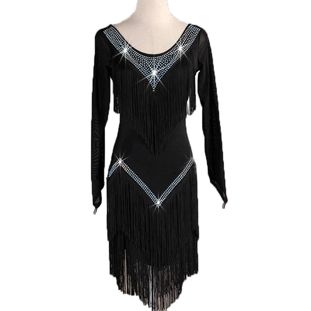 成人女性プロのラテンダンスタッセルドレスメッシュスリーブパフォーマンス競技スーツ B07QWLG316 Xl xl|ブラック ブラック Xl xl