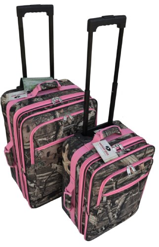 Mossy Oak 2 PCS Luggage Combo Set with Pink Trim