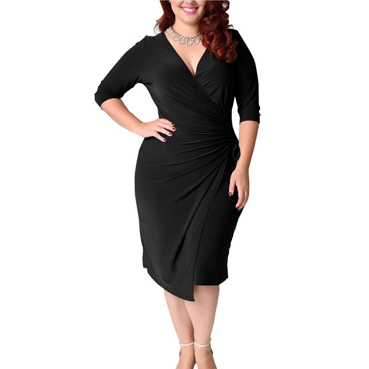 Fmeijia Plus Size Dresses, Fashion Sexy V-Neck Woman Party Elegant Bodycon Dress For Women L-5XL Black by Fmeijia