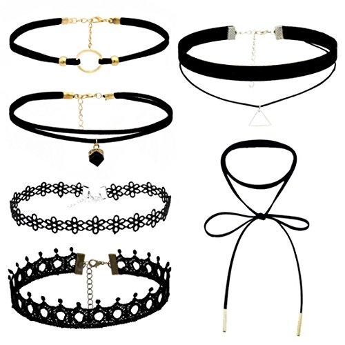 Black Diamond Fire Boots - Botrong Choker Necklace Set Stretch Velvet Classic Gothic Tattoo Lace Choker (Pack of 6, Black)