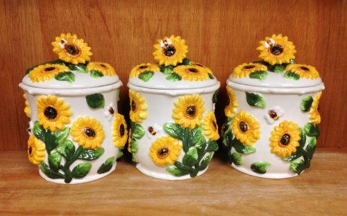 Sunflower 3pc Canister Storage Set 3-d New